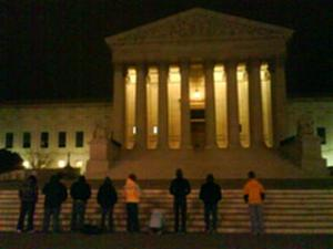 Silent prayer watch at the Supreme Court at Midnight.