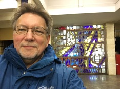 Kiev, Ukraine: in the subway with glory in the background.